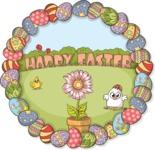 Easter Vectors - Mega Bundle - Happy Easter Round Illustration