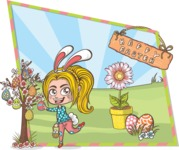 Easter Vectors - Mega Bundle - Happy Girl at Easter