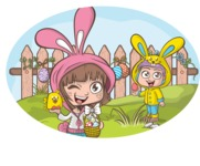 Easter Vectors - Mega Bundle - Happy Kids at Easter