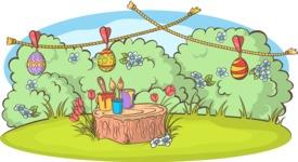 Easter Vectors - Mega Bundle - Painted Eggs Drying Outdoors