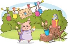 Easter Vectors - Mega Bundle - Sheep Painting Easter Eggs
