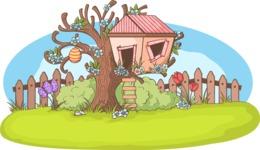 Easter Vectors - Mega Bundle - Tree House on Spring Tree