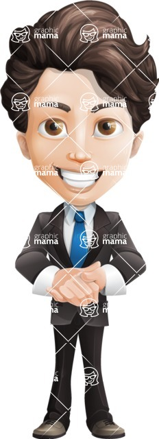 Little Boy Businessman Cartoon Vector Character AKA David - Normal