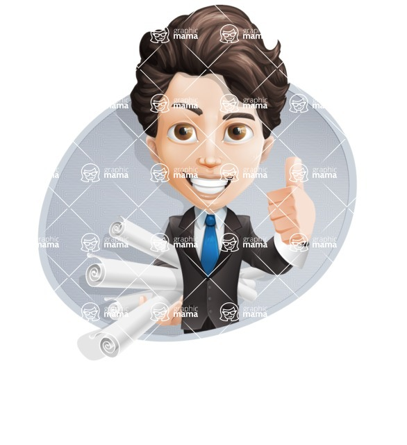 Little Boy Businessman Cartoon Vector Character AKA David - Shape4