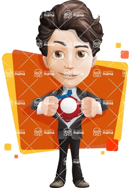Little Boy Businessman Cartoon Vector Character AKA David - Shape5