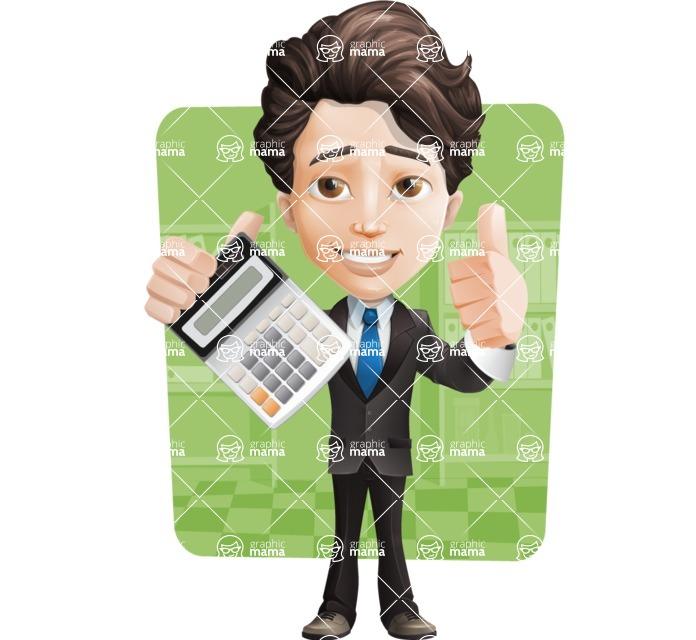 Little Boy Businessman Cartoon Vector Character AKA David - Shape6