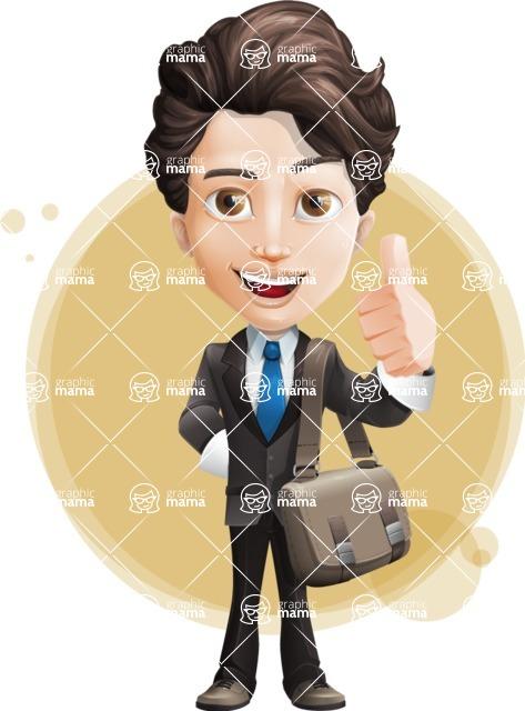 Little Boy Businessman Cartoon Vector Character AKA David - Shape7
