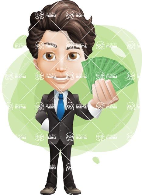 Little Boy Businessman Cartoon Vector Character AKA David - Shape9