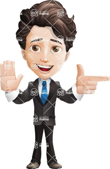 Little Boy Businessman Cartoon Vector Character AKA David - Direct Attention