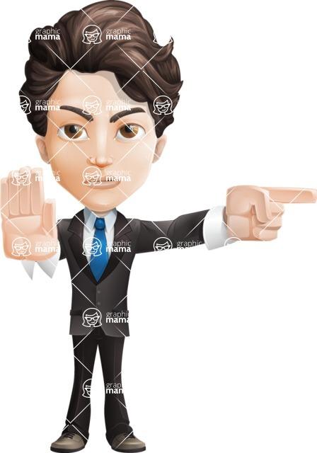 Little Boy Businessman Cartoon Vector Character AKA David - Direct Attention2