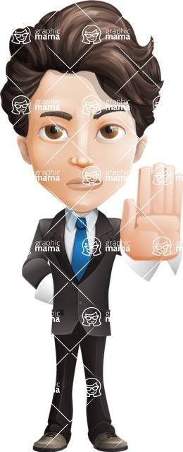 Little Boy Businessman Cartoon Vector Character AKA David - Stop