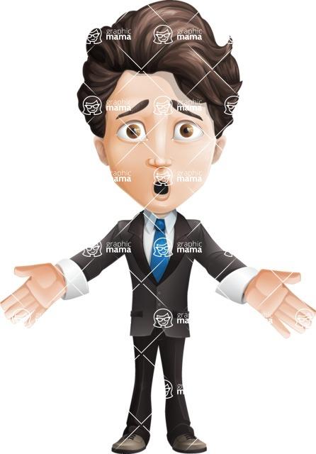 Little Boy Businessman Cartoon Vector Character AKA David - Shocked