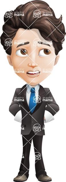Little Boy Businessman Cartoon Vector Character AKA David - Roll Eyes