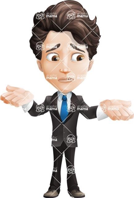 Little Boy Businessman Cartoon Vector Character AKA David - Lost