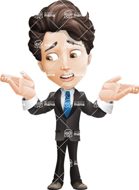 Little Boy Businessman Cartoon Vector Character AKA David - Lost2