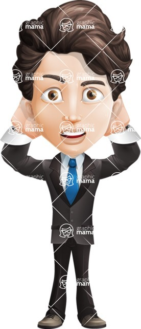 Little Boy Businessman Cartoon Vector Character AKA David - Confused