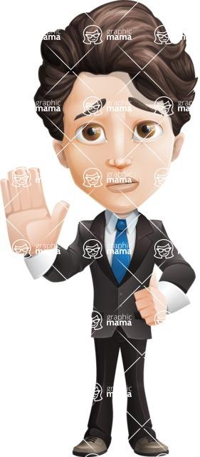 Little Boy Businessman Cartoon Vector Character AKA David - Goodbye