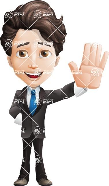 Little Boy Businessman Cartoon Vector Character AKA David - Hello