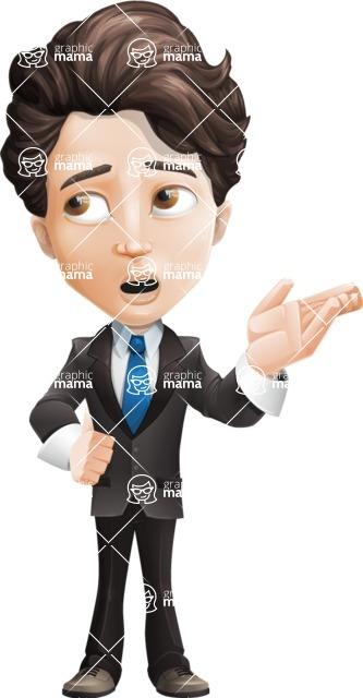 Little Boy Businessman Cartoon Vector Character AKA David - Bored