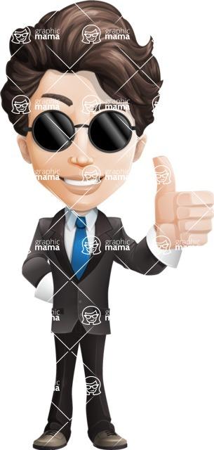 Little Boy Businessman Cartoon Vector Character AKA David - Sunglasses