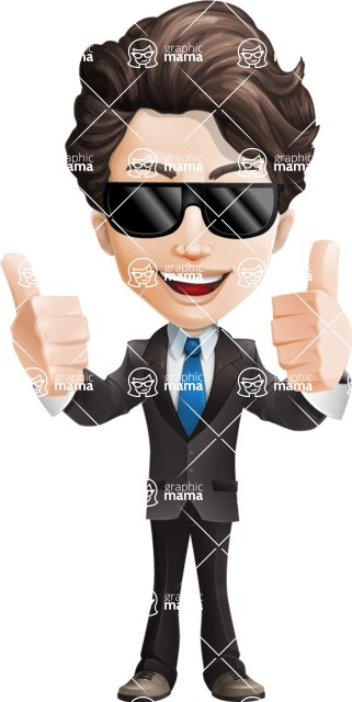 Little Boy Businessman Cartoon Vector Character AKA David - Sunglasses2