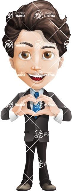 Little Boy Businessman Cartoon Vector Character AKA David - Show Love