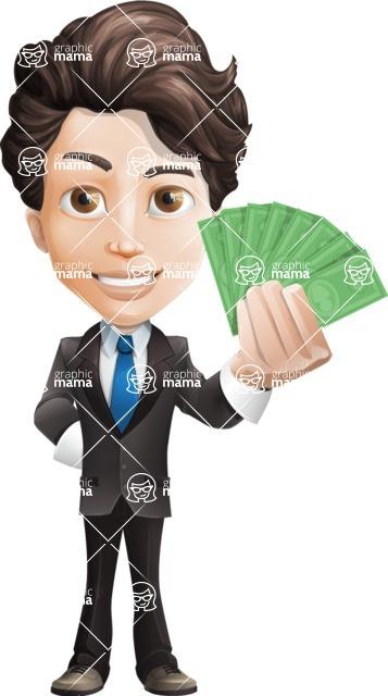 Little Boy Businessman Cartoon Vector Character AKA David - Show me the money