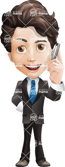 Little Boy Businessman Cartoon Vector Character AKA David - Support