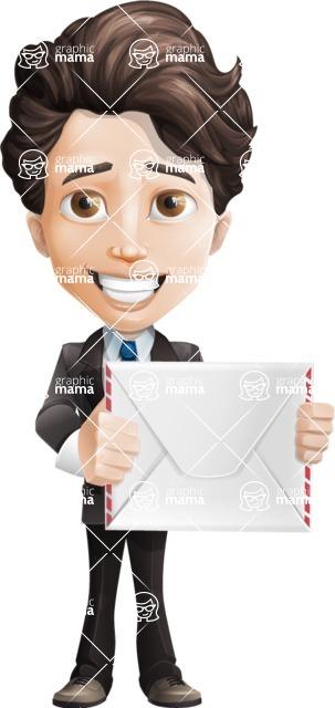 Little Boy Businessman Cartoon Vector Character AKA David - Letter