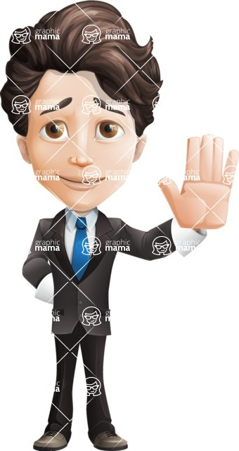 Little Boy Businessman Cartoon Vector Character AKA David - Wave