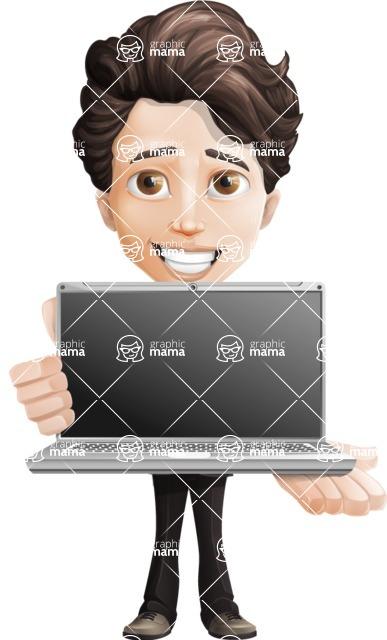 Little Boy Businessman Cartoon Vector Character AKA David - Laptop