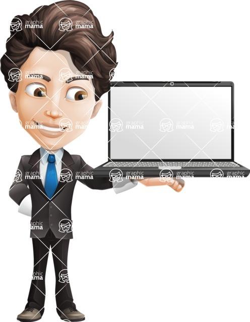 Little Boy Businessman Cartoon Vector Character AKA David - Laptop2