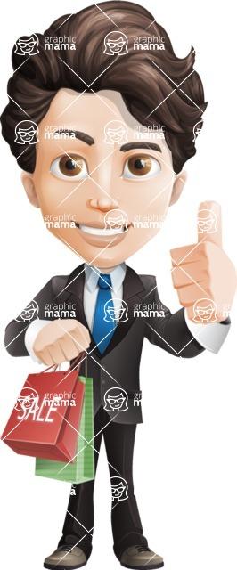 Little Boy Businessman Cartoon Vector Character AKA David - Sale