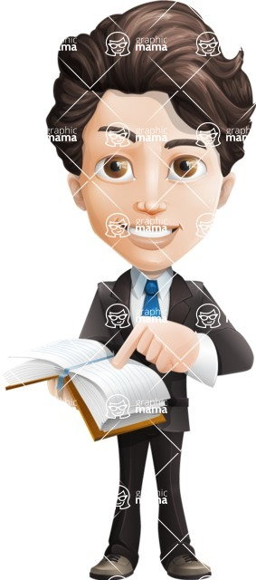 Little Boy Businessman Cartoon Vector Character AKA David - Book1