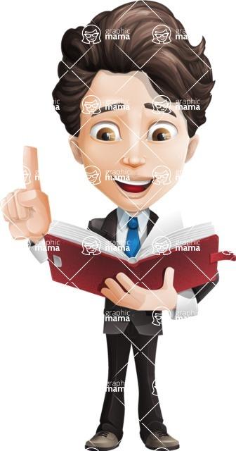Little Boy Businessman Cartoon Vector Character AKA David - Book2