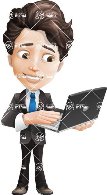 Little Boy Businessman Cartoon Vector Character AKA David - Laptop3