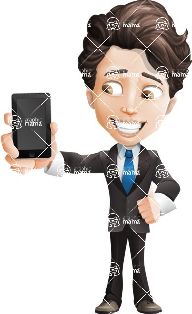 Little Boy Businessman Cartoon Vector Character AKA David - iPhone