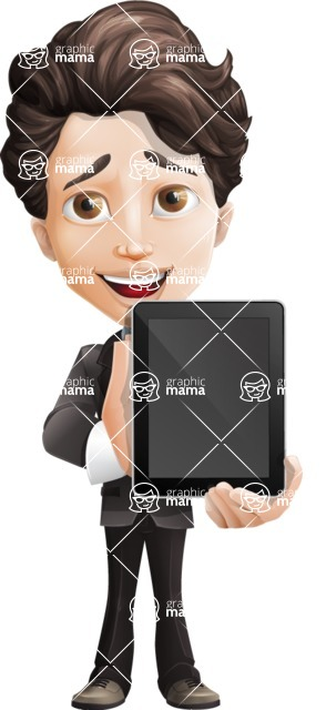 Little Boy Businessman Cartoon Vector Character AKA David - iPad1
