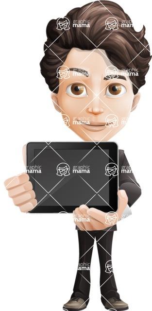 Little Boy Businessman Cartoon Vector Character AKA David - iPad2