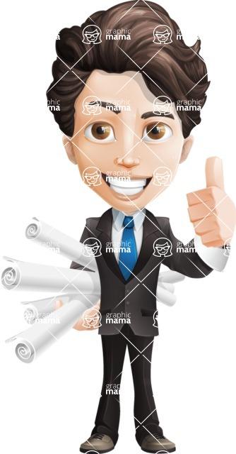 Little Boy Businessman Cartoon Vector Character AKA David - Plans