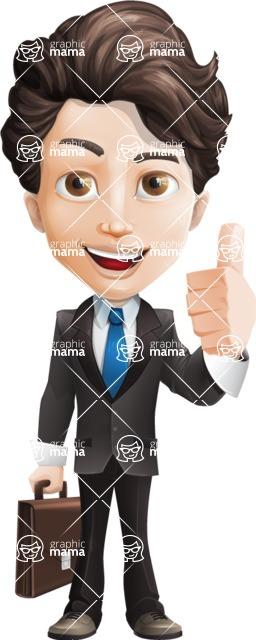Little Boy Businessman Cartoon Vector Character AKA David - Briefcase