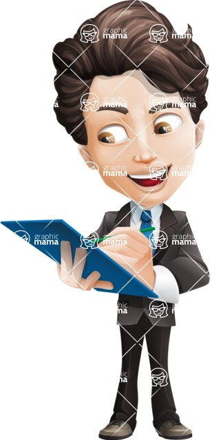 Little Boy Businessman Cartoon Vector Character AKA David - Notepad1
