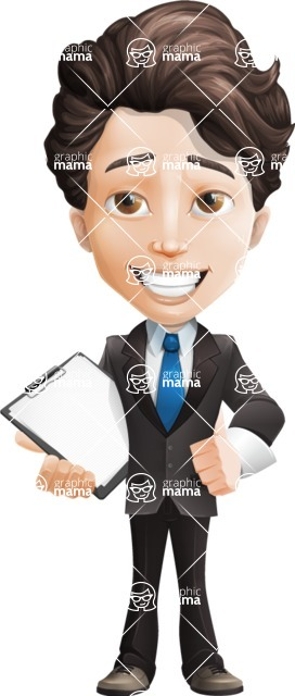 Little Boy Businessman Cartoon Vector Character AKA David - Notepad2