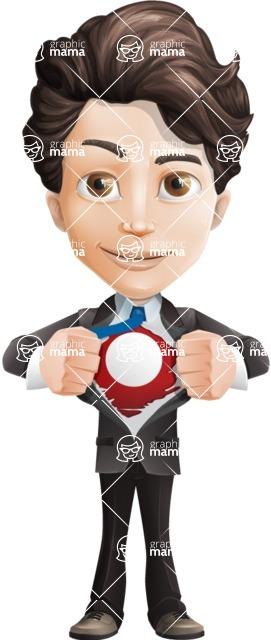 Little Boy Businessman Cartoon Vector Character AKA David - Be a Superhero