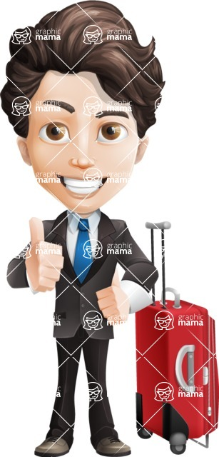Little Boy Businessman Cartoon Vector Character AKA David - Travel1