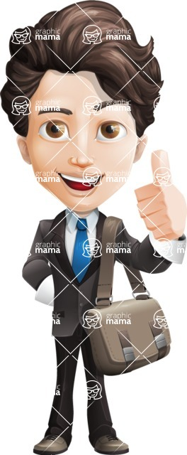 Little Boy Businessman Cartoon Vector Character AKA David - Travel2