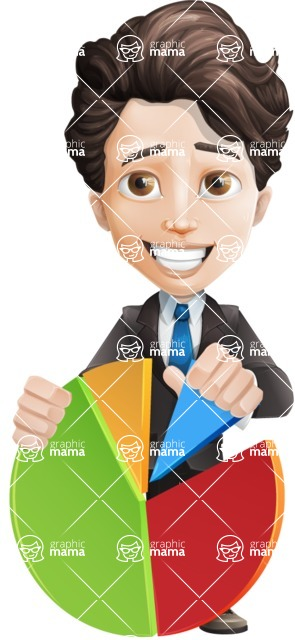 Little Boy Businessman Cartoon Vector Character AKA David - Chart
