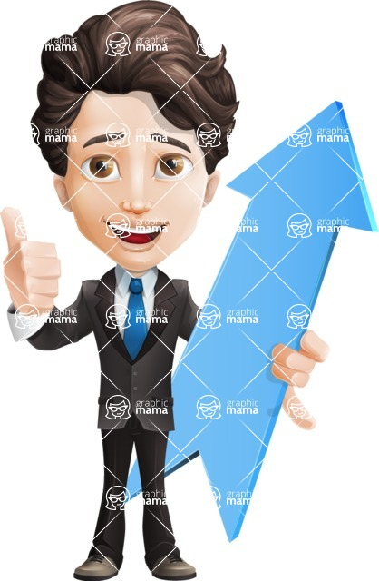 Little Boy Businessman Cartoon Vector Character AKA David - Arrow1