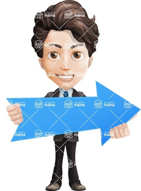Little Boy Businessman Cartoon Vector Character AKA David - Arrow2