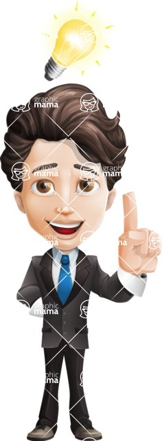 Little Boy Businessman Cartoon Vector Character AKA David - Idea1